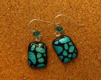 Dichroic Earrings - Fused Glass Earrings - Dichroic Jewelry - Fused Glass Jewelry - Swarovski Crystals - Crystal Earrings - Turquoise
