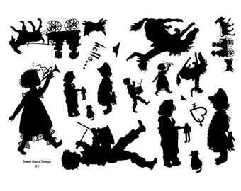 Stamp Sheet Children Silhouettes, goat cart, horse, bronco, drummer, marching band, Sweet Grass Stamps No.1