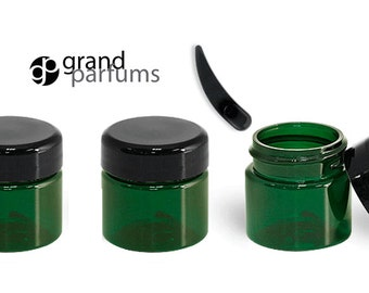 12 GREEN MINI 1/2 Oz Jars PET Plastic Jars 15ml w/ Domed Black Caps for Eye Cream, Eye Shadow, Salves, Lip Gloss, Balm, Hand Cream w/Spoons