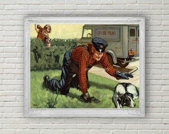Little Boy's Room Art, Family Room Art, Guest Room Art, Kitchen Art, Great Gift for Animal Control Officer #120  FREE SHIPPING