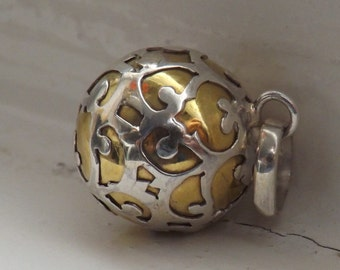 Sterling 925 Silver/Brass Harmony Chime Ball Angel Caller Jewellery Mexican Bola 1.4cm 14mm SilverandSoulDesigns