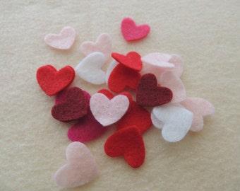 50- Die cut Small Felt Hearts,  Valentines