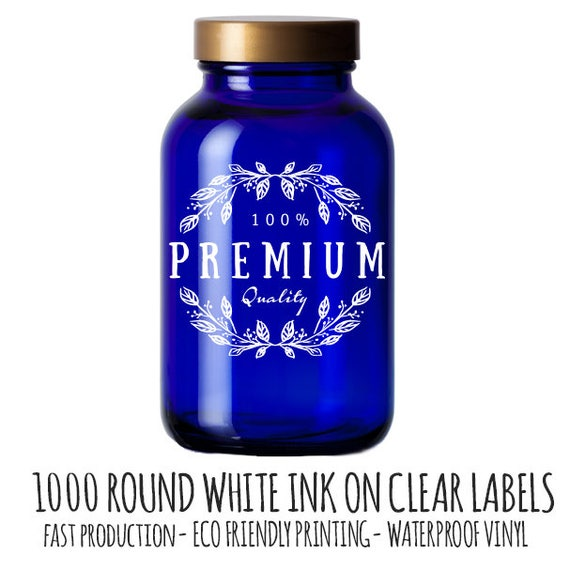 Bulk custom stickers white ink on clear vinyl 1000 white ink round labels clear stickers waterproof stickers product label stickers from