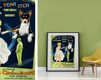 Basenji Dog Art The Seven Year Itch Movie Poster Giclee Print  or Gallery wrapped Canvas ready to hang on the wall Gift for Her Gift For Him