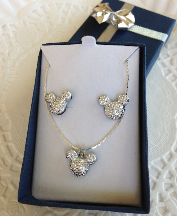 Minnie MOUSE EARS Necklace and Earrings-Disney Wedding Party-Silver Tone Acrylic
