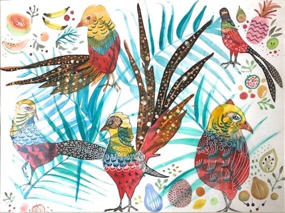 Art, Painting, Watercolor, Folk Art, Bird, Feathers, quetzal, leaves