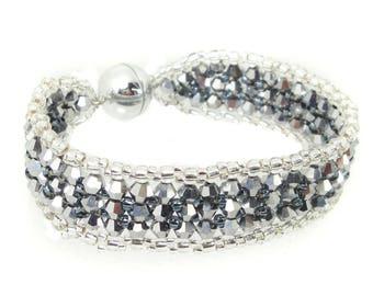 Bracelet-Crystal glass grinding-jet hematite/Silver (BS-1332)