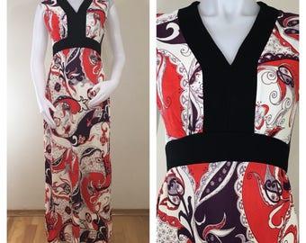 60s 70s Red Purple Paisley Sleeveless Empire Waist Maxi Dress, Size Medium