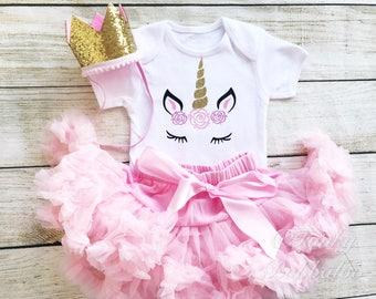 Unicorn Baby Girl Birthday Tutu Outfit Pink Gold Glitter Matching Party Crown Hat 1st 2nd Cake Smash Photo Shoot Pettiskirt Flower