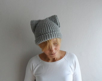 Gray Cat Hat, Knit Cat Ear Hat, Cat Ear Beanie, Light Gray Cat Beanie, Chunky Knit Cat Hat, Winter Accessories, Winter Hat,