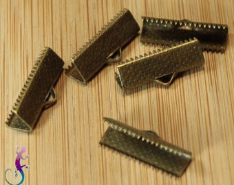 50 end caps clip clasp 20x9mm bronze Ribbon, lace, cord A345