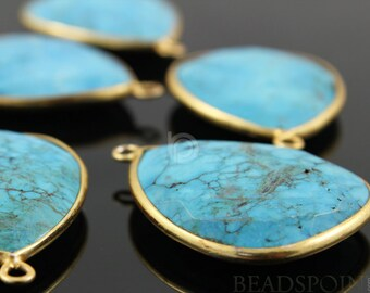 Natural TURQUOISE, Bezel  Pear Shape Turquoise Component, Gold Vermeil,   24x30mm, 1 Piece, (BZC7101)