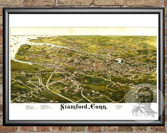 Stamford, Connecticut Art Print From 1883 - Digitally Restored Old Stamford, CT Map Poster  - Perfect For Fans Of Connecticut History