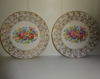 A pair of lovely floral tea plate's/ Vintage/