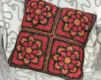 """Crochet Cushion cover """"stained-glass"""" 40 x 40 cm"""