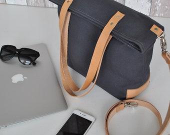 Graue Canvas Schultertasche, Umhängetasche mit Leder ,mittelgroß, Damen Tasche, Herren,Unisex, Laptop Tasche, Reise Tasche, Einkaufstasche