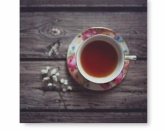 Rustic Teacup print, teacup photo, flower print, tea cup print, tea cup photo, still life photograph, wood floor, kitchen decor, Kitchen Art