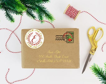 Customizable Circle Printable Christmas Wreath Labels for Cardstock, Paper, or Stickers