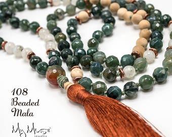 108 Mala Bead, Mala Necklace, Knotted Mala, Abundance Mala, Prayer Beads, Moss Agate Mala, Moonstone Mala Necklace, Free Shipping
