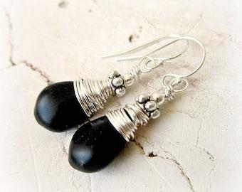 Black Onyx Earrings. Sterling Silver Wire Wrapped Dangle Earrings.  Black Earrings.Black Stone & Bali Earrings. Black Jewelry