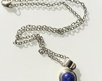 Sterling Silver Blue Lapis Pendant. Sterling Silver chain. Sterling Silver Blue Lapis Pendant Necklace. Blue Lapis Stone 925 Sterling Silver