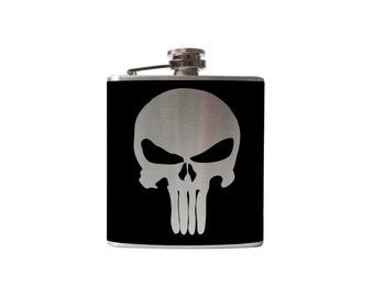 Punisher Flask- whiskey, liquor, wedding, bridal party,- Personalized Custom - YOU pick COLOR