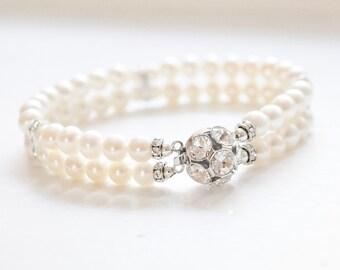 Bridal Bracelet, Pearl Wedding Bracelet, Bridal Jewelry, Wedding Jewellery