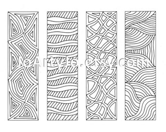 Bookmarks- Zentangle Inspired Printable Coloring, Digital Download, Sheet 10