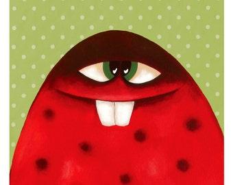 Cute monster art, Cute monster, Cute art, Monster art, Monster cute, Art monster, Cute monsters, Red monster art, Red nursery