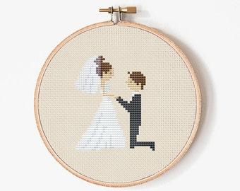 Wedding Cross Stitch pattern - Cross Stitch Bride and Groom - PDF Digital - INSTANT DOWNLOAD