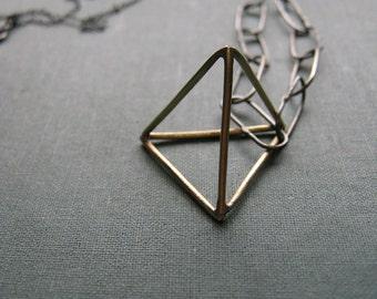 Golden Tetrahedron Necklace - geometric brass pyramid oxidized silver handmade chain