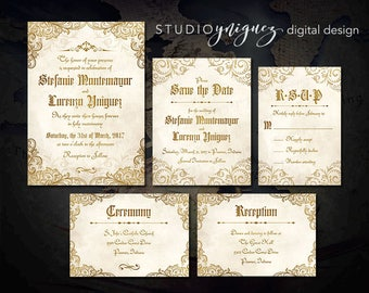 Gold and Ivory Medieval Wedding Printable Invitation Suite, Renaissance Printable Wedding Invitation Set, Digital Wedding Invitation Suite