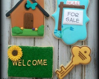 Realtor New Home House Warming Home Sweet Home  Decorated Sugar Cookies