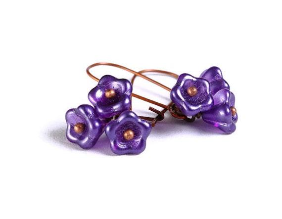 Handmade purple salvia mauve violet Czech bell flower floral dangle earrings (690)