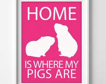 """Guinea Pig Wall Art """"Home is Where My Guinea Pigs Are"""""""