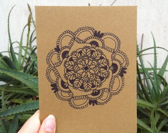Black Mandala Greeting Card // Birthday Card // Wedding Card // 105mm x 150mm