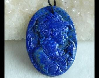 Carved Lapis Lazuli Gemstone Beauty Lady Pendant Bead,Cobalt Blue,41x30x4mm,9.5g(k0280)