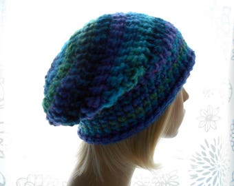 Women's Slouchy Hat, Wool - Blend Striped Hat, Crochet Slouchy Hat in Blues, Greens and Purple, Large Size