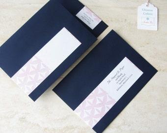 Wedding Envelope Address Label - Invitation Wrap Around Label - Vintage Return Address Label - Christmas Card - Holiday - Choose Your Color