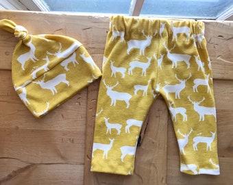 Summer Yellow Elk Hat & Pants Set, Leggings, Baby Girl, Fairy Tale, Gift, Woodland, Deer, Newborn