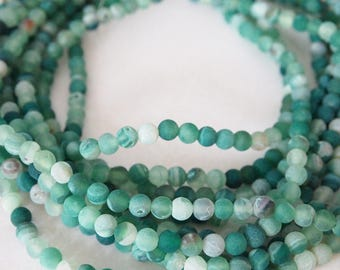 Strand Gemstone Agate Frosted Beads Sea Green Size 6mm Quantity 64 Beads