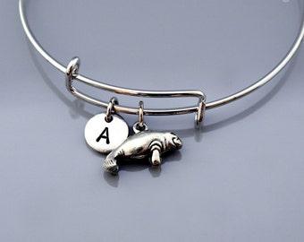 Manatee bangle, Manatee bracelet, Silver Manatee bracelet, Manatee charm jewelry, Expandable bangle, Personalized bracelet, Charm bangle