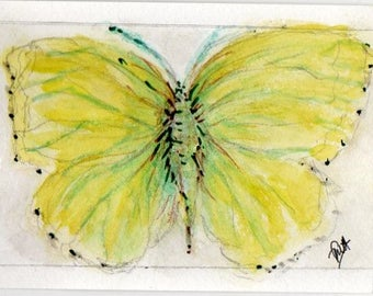 Yellow Butterfly (Original Watercolour painting- postcard size)