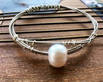 Guitar String Bangle Bracelet Wrap Bracelet Freshwater Pearl Wire Wrapped Size SMALL