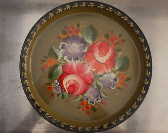 Vintage Russian Toleware Tray Hand Painted Tole Tray with Floral Ornaments, USSR Decorative Tray Circa 1950s