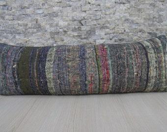 Handmade Pillow Cotton Kilim Pillow Decorative Kilim Pillow 12 x 36 Kilim Lumbar Cushion Couch Pillow Turkish Rug Ethnic Pillow