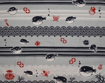 Furoshiki Fabric Fugu Blowfish Cotton Japanese Fabric 50cm w/Free Insured Shipping