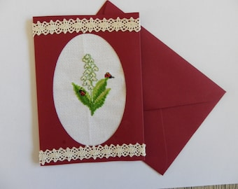 card double Burgundy with embroidered envelope of the Valley brings good luck to May 1, for mother's day, birthday card
