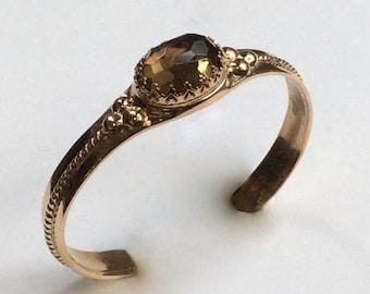 Smoky quartz cuff, Bronze cuff, statement bracelet, unique bracelet, statement cuff, gemstone bracelet, simple cuff - Like smoke B3006