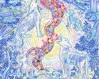 Art Print, Coyote, Family, Forest, Earth Loving Art, Sing together, Totem Animal Spirit, Twilight Stars, Light Circle, Inspirational Art